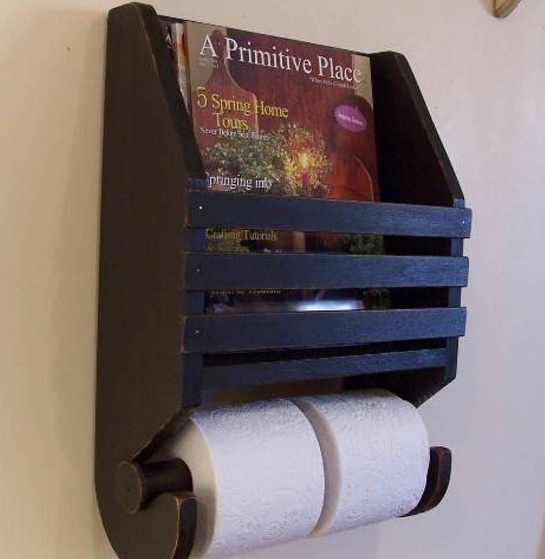 Primitive Style Bathroom Magazine Rack And Tissue Holder Primitive Bathrooms Toilet Paper Toilet Paper Holder