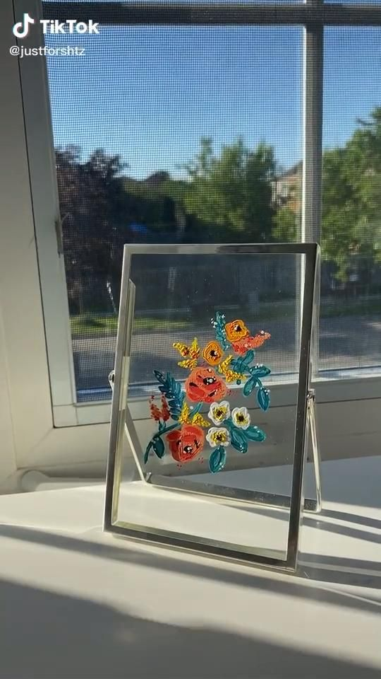 Simple Floral Glass Painting Video Diy Art Painting Diy Canvas Art Canvas Painting
