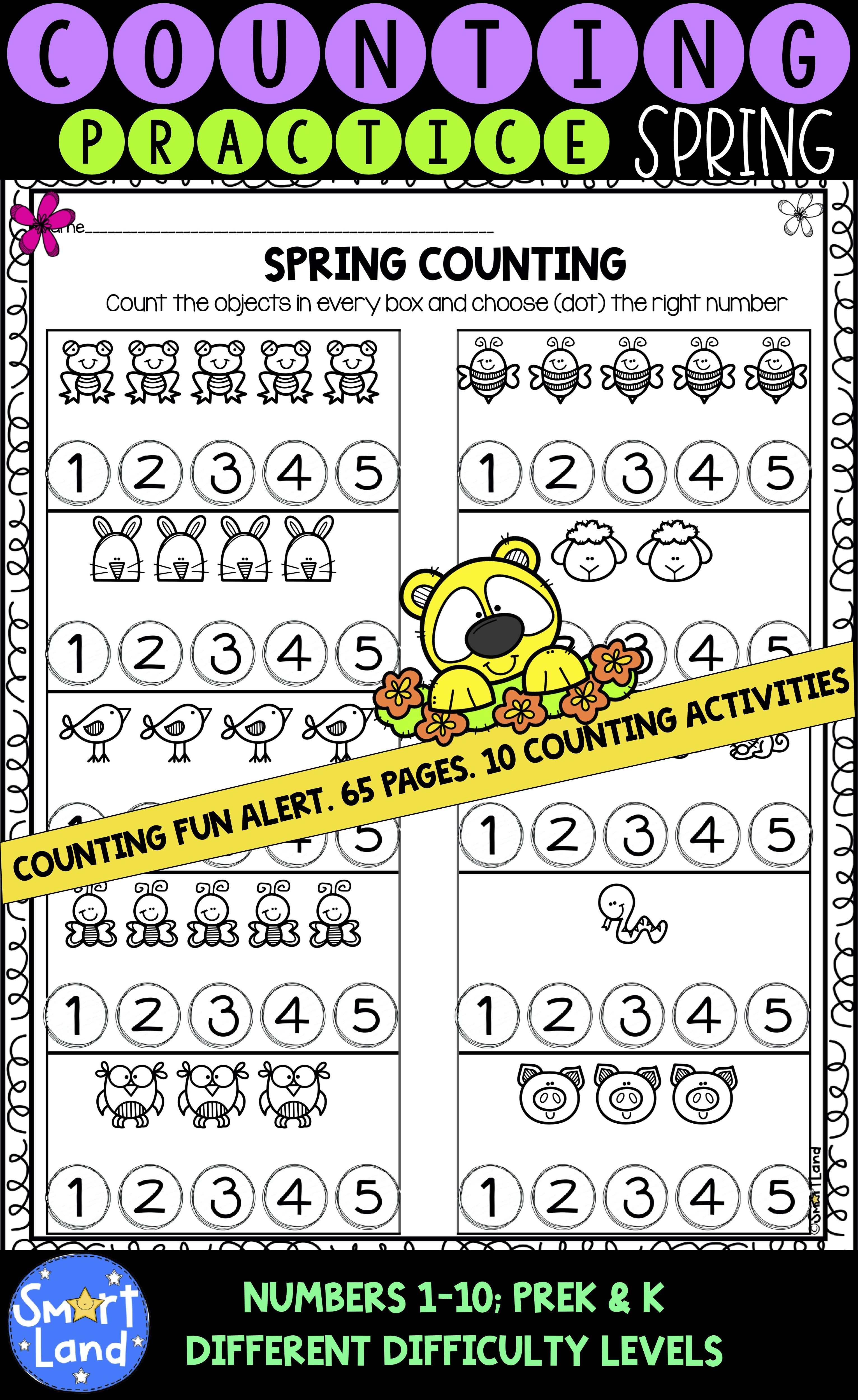 Counting Practice Numbers 1 10 Spring Edition