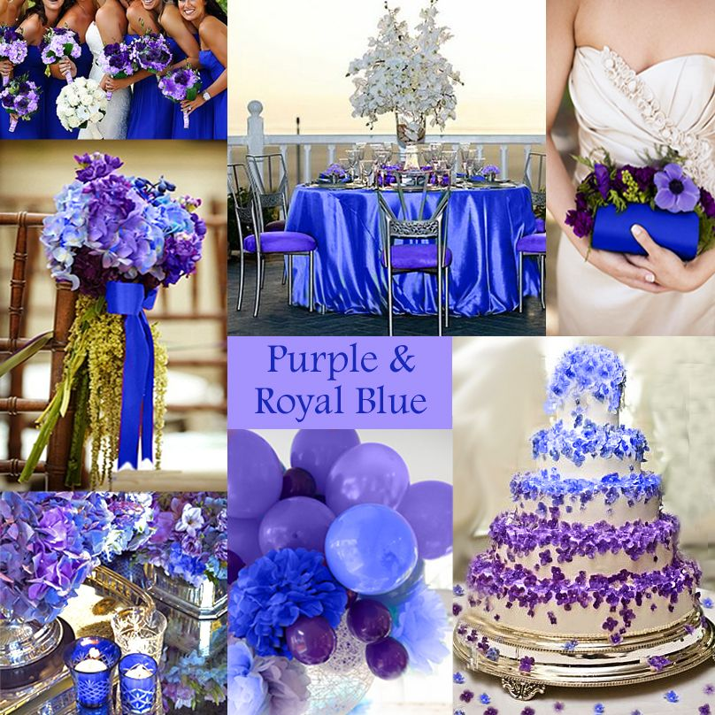 Purple wedding color combination options royal blue Navy purple color