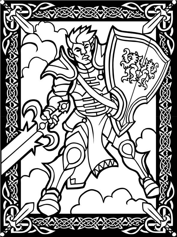 Fantasy Warriors Stained Glass Coloring Book Dover Publications ...