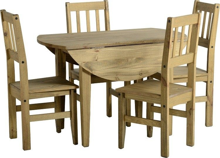 Corona Circular Round Drop Leaf Mexican Pine Dining Table And 4 Chairs New