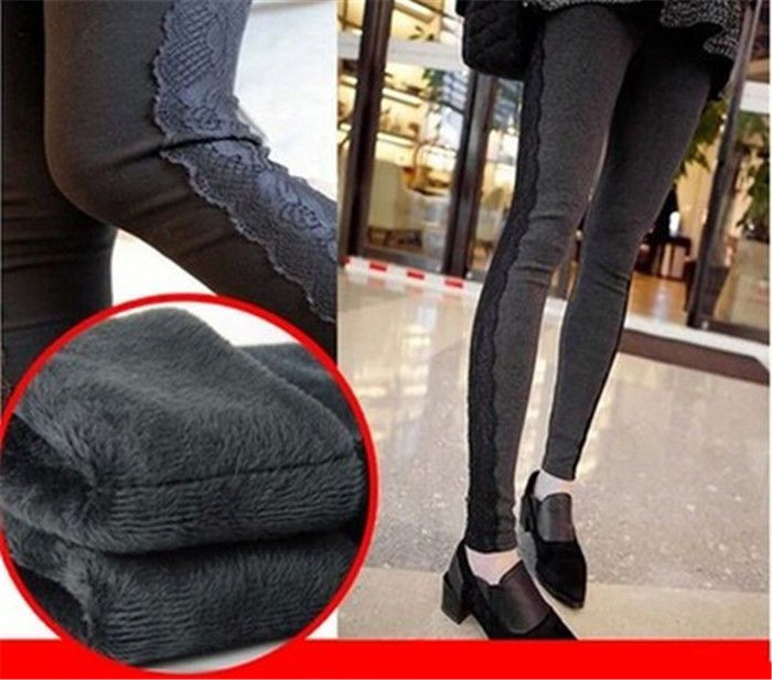 New Women's New Winter Fleece Lined Warm Lace Thermal Stretchy Leggings Pants | eBay