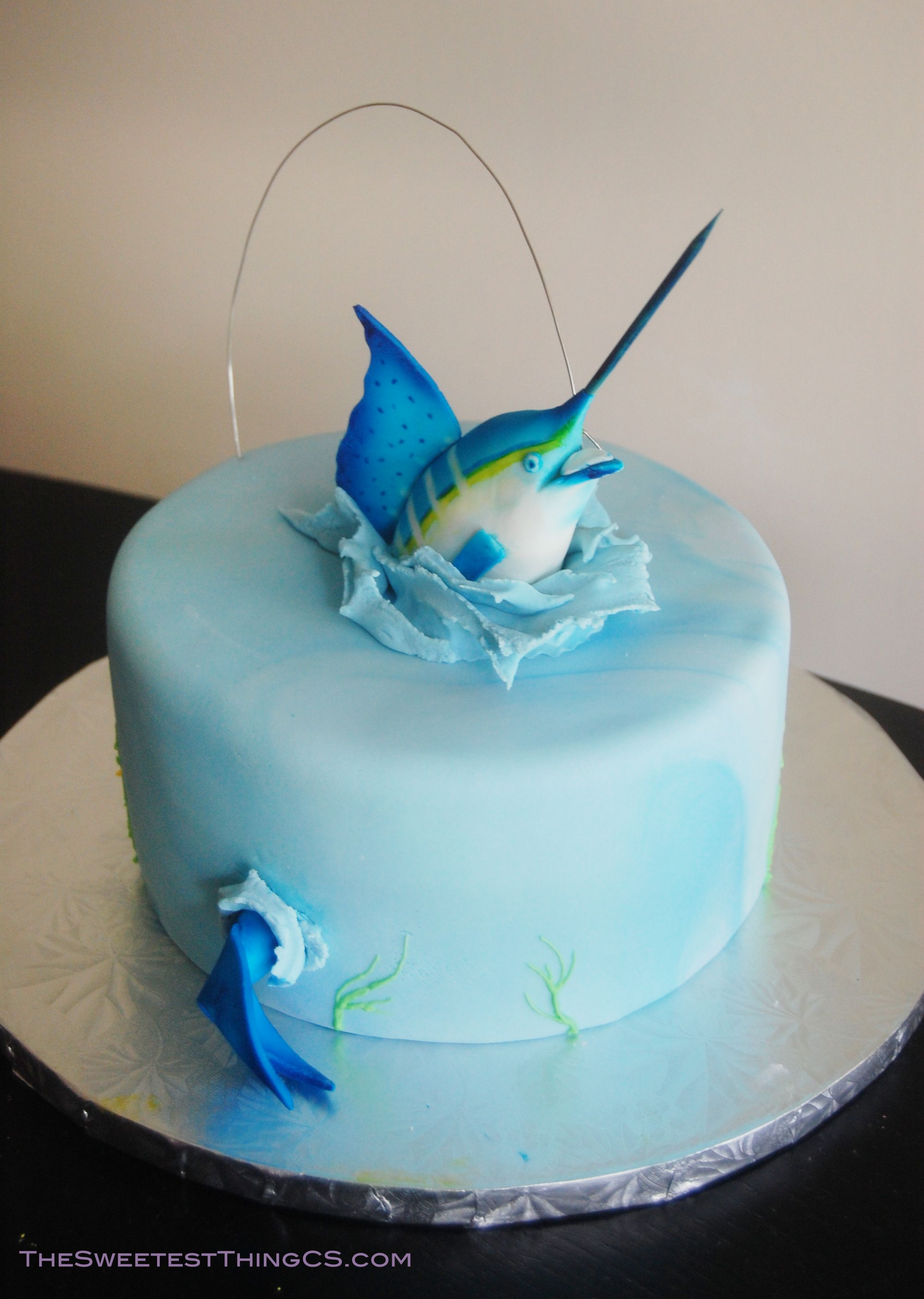 Marling Fishing Birthday Cake - Fisherman Cake! Marble ...