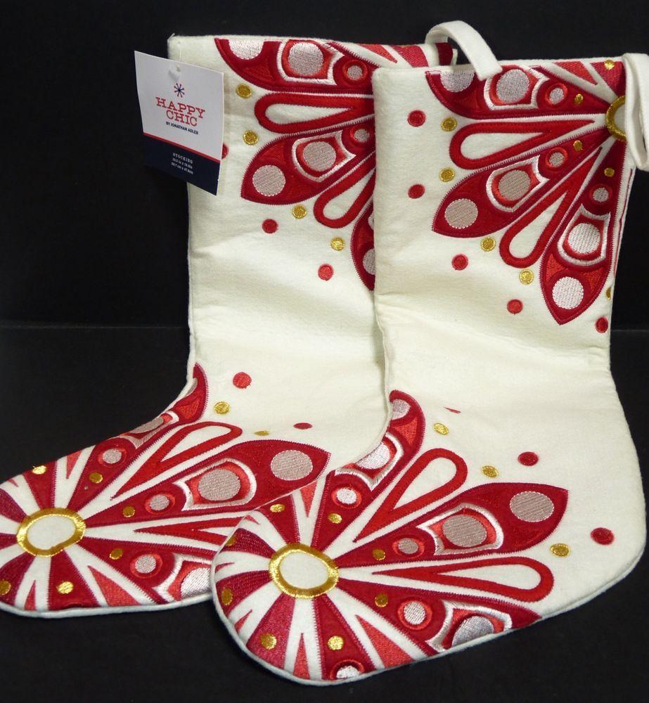 Jonathan Adler Christmas Stocking Happy Chic Felt Red Gold Ivory New X 2 Christmas Stockings Red Gold Stockings
