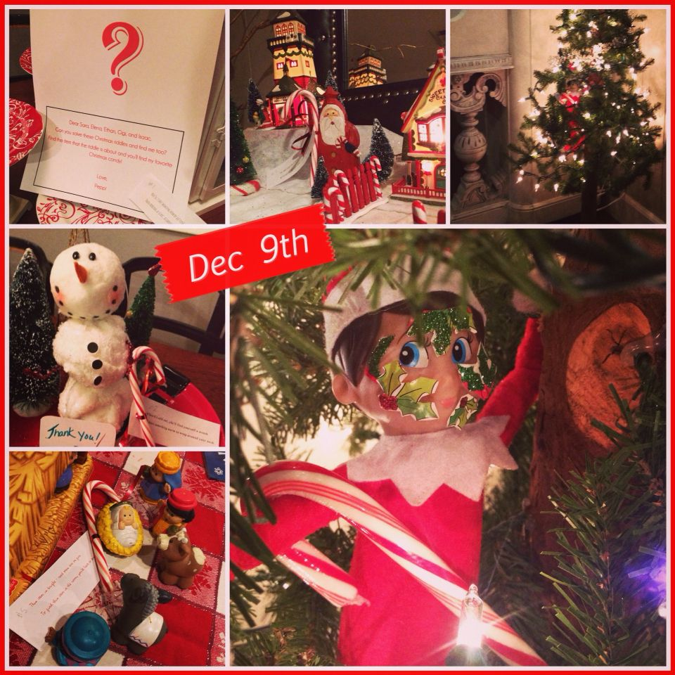 Elf on the shelf Christmas riddles and candy cane
