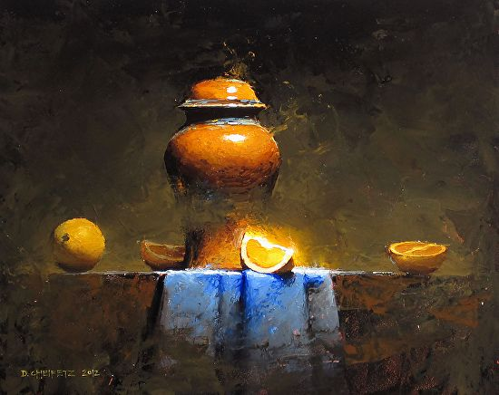 Still life oil painting --but, what is in that center slice of orange???
