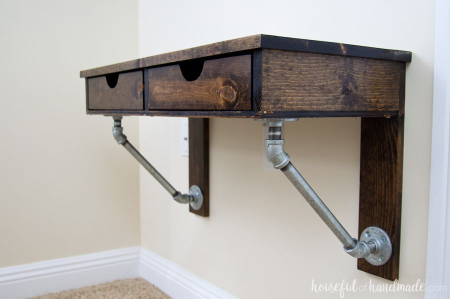 A wallmounted desk perfect for small spaces or kids rooms