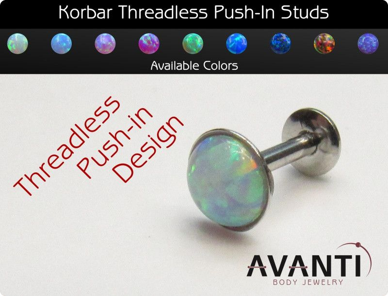 Korbar Push In Round Opal Nose / Earring - 20g | Threadless Ends ...