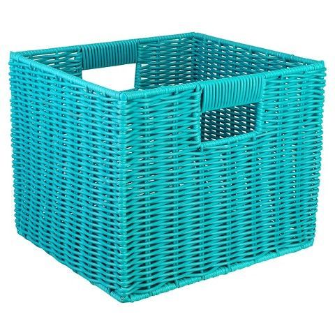Room Essentials Woven Resin Storage Cube Turquoise Plastic Storage Cubes Cube Storage Resin Storage