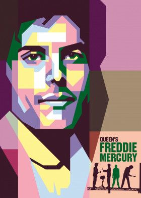 Queen Freddie Mercury #Vector #Design #Poster #Illustration #Background | Displate thumbnail
