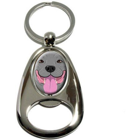 Pit Bull Blue Nose Gray, Pitbull American Staffordshire Terrier Dog Pet, Chrome Plated Metal Spinning Oval Design Bottle Opener Keychain Key Ring, Silver