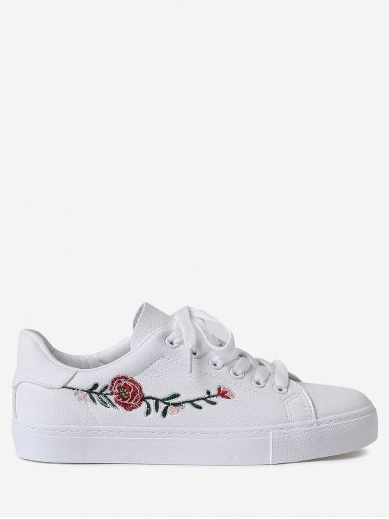 Faux leather flower embroidery skate shoes pinterest athletic faux leather flower embroidery athletic shoes white 40 mightylinksfo