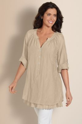Silk Terra Tunic - Eyelet Lace Cotton And Silk Tunic, Scoop Neckline, Tops   Soft Surroundings