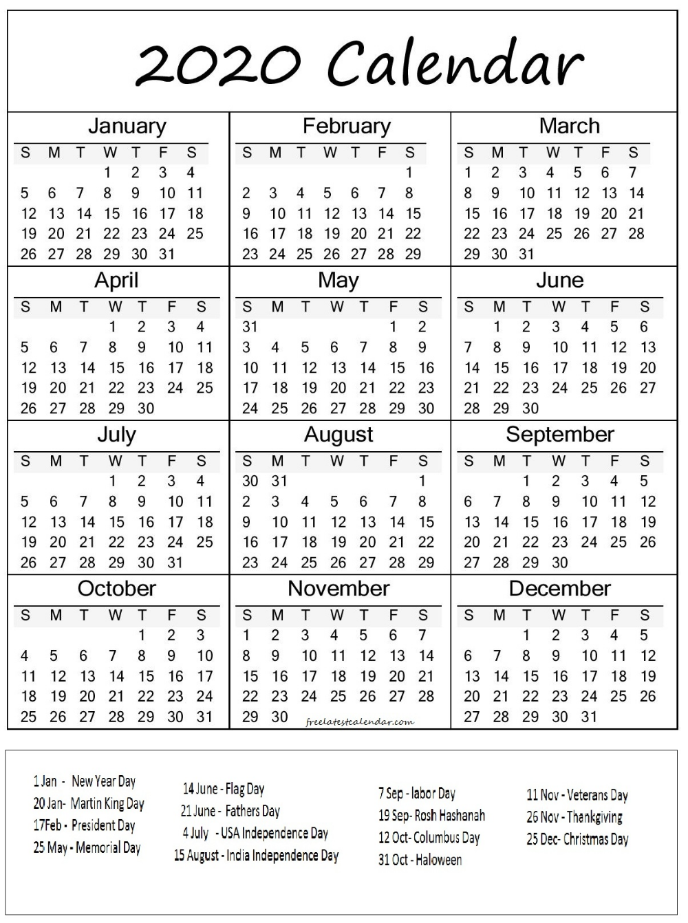 Printable 2020 Calendar With Federal Holidays All Month