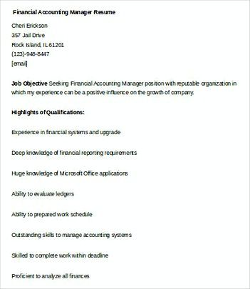 Financial Accounting Manager resume template , Finance Manager - financial resume examples