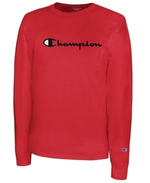 7b6c7312 Champion Men Script-Logo Long Sleeve Tshirt | Products | Script logo ...