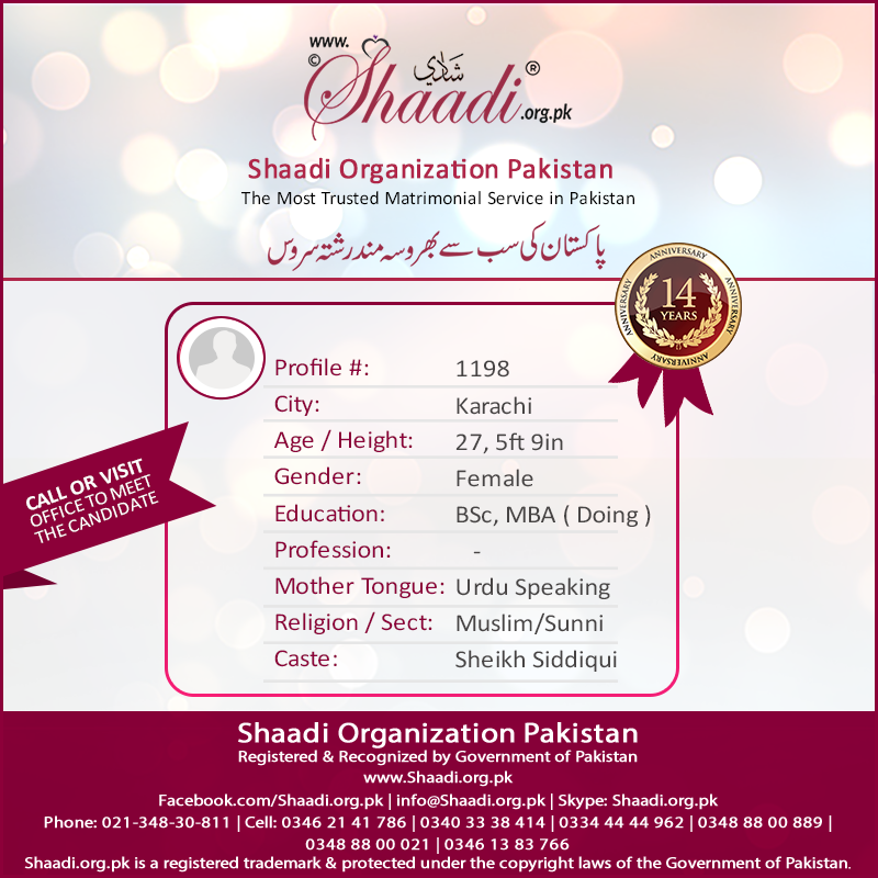 Female Proposal From Karachi  Muslim, Sunni, Good Looking & Smart