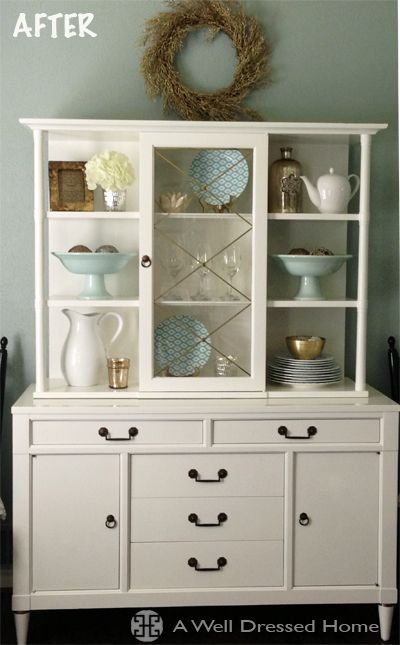 Marvelous Dreary Dining Hutch Painted To Perfection! @ A Well Dressed Home
