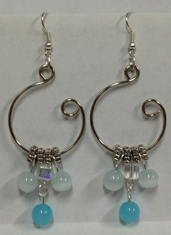 726bba1f7 Silver and Light Blue Open Hoop Earrings | Products | Earrings, Wire ...