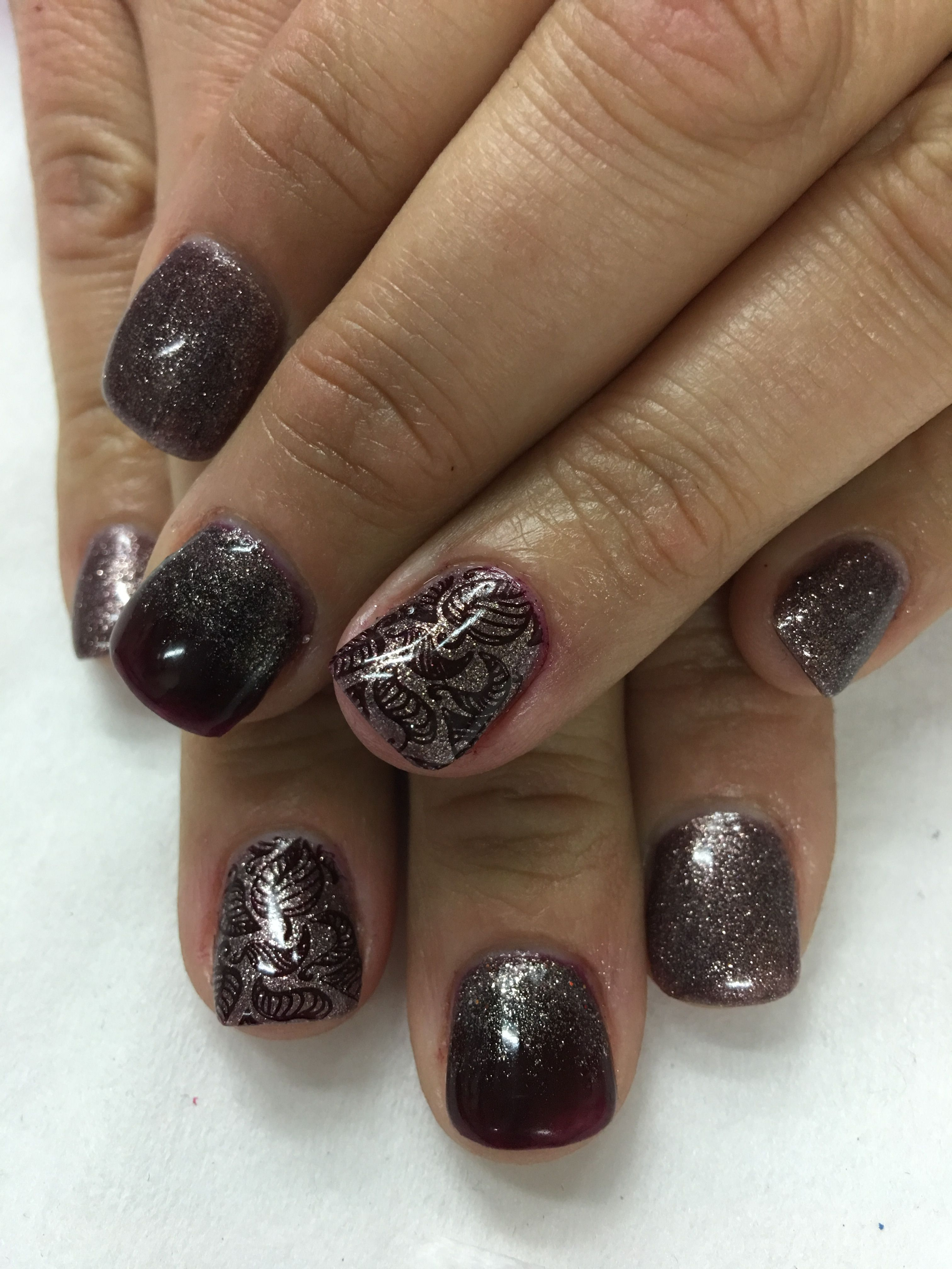 Shimmer Taupe Burgundy Stamped Leaves Fall Gel Nails   Gel Nail ...