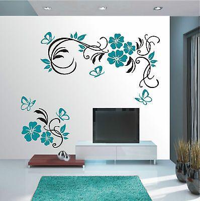Details zu Blumenranke Wandtattoo Wohnzimmer Wandsticker