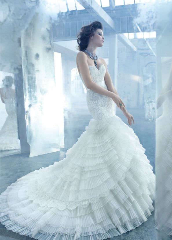 Luxury Lazzaro wedding gown with intricate pleating and ruffles for ...