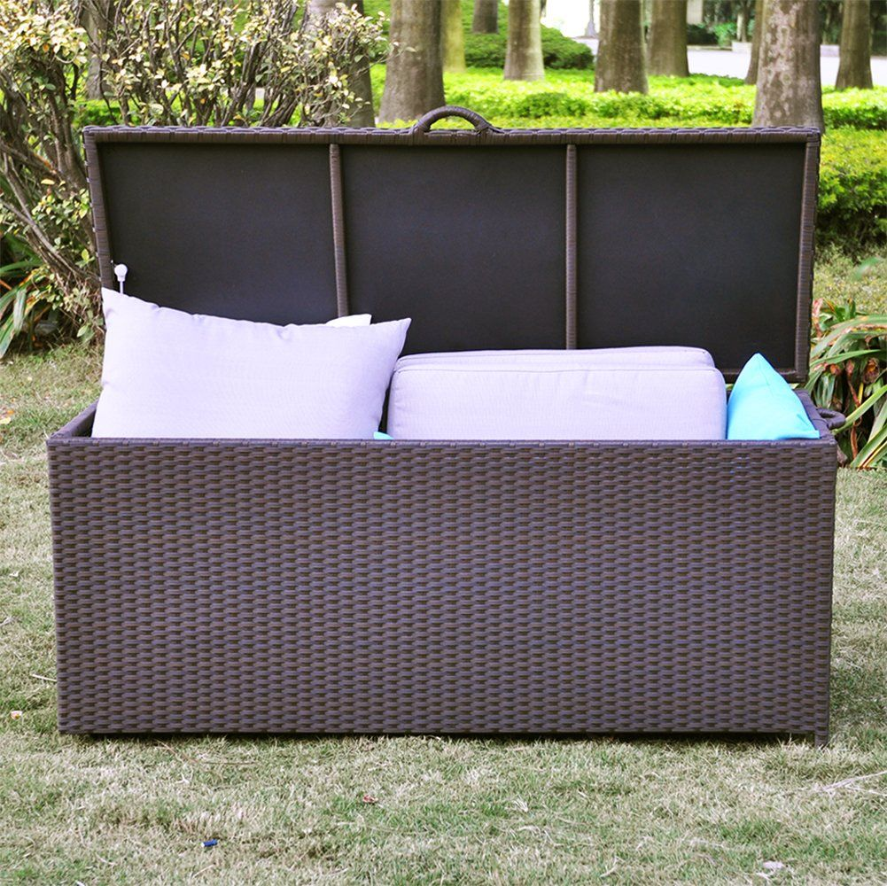 86 Gallon All Weather Resin Wicker Deck Box Storage Container Bench Seat Anti Rust Uv Resistant Espresso Deck Box Storage Storage Boxes Garden Wicker Deck Box