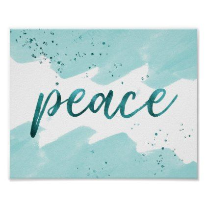 Peace Teal Watercolor Christmas Poster Christmas poster - christmas poster template