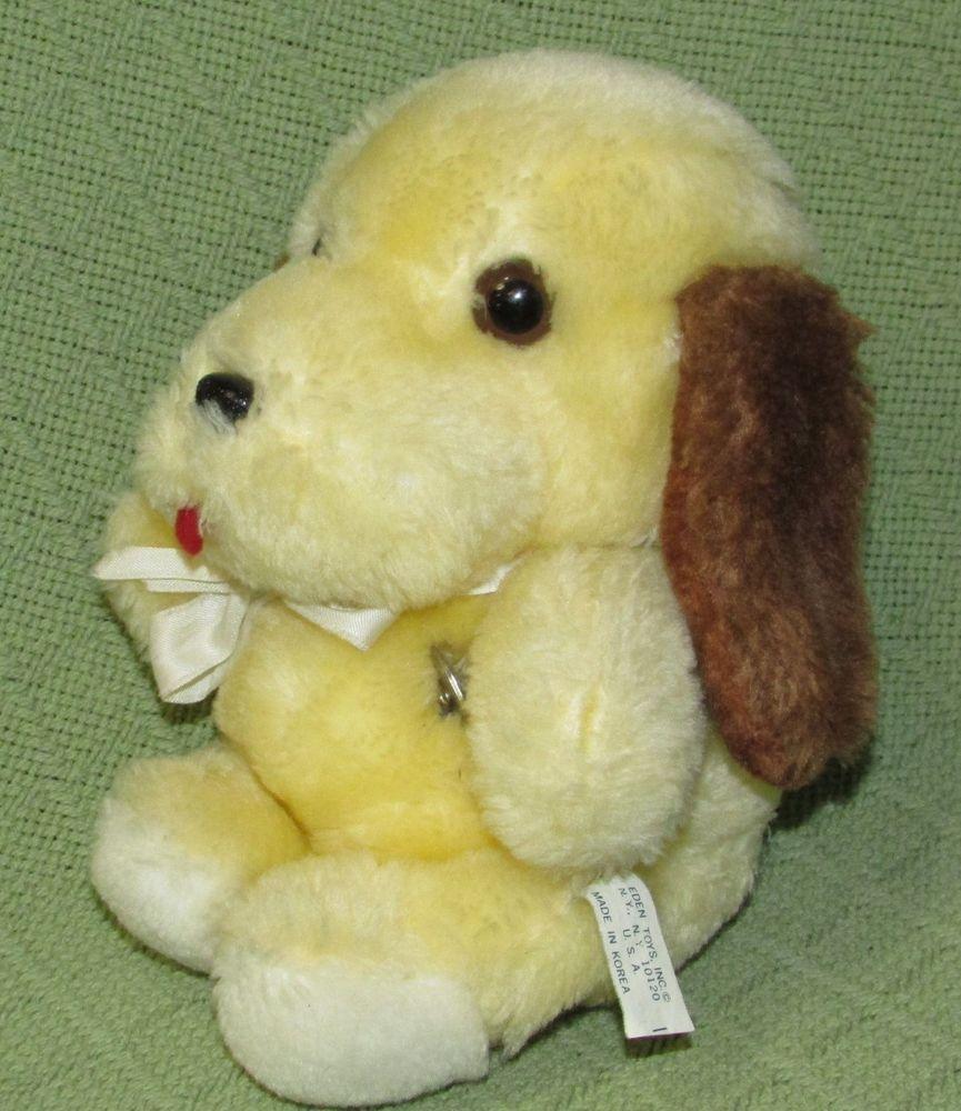 "RARE Vintage Eden YELLOW Dog Musical Brown Ears Plush Stuffed Puppy 7"" Wind Up #Eden"