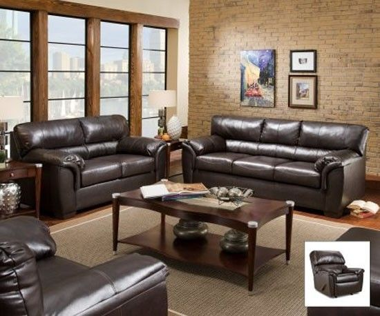 Simmons Upholstery London Bonded Leather Sofa And Loveseat In