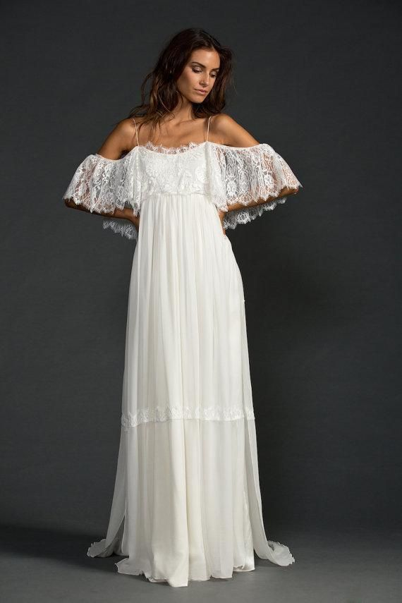 Vintage Inspired Hippie Maxi Lace Bohemian Long Sleeve Wedding
