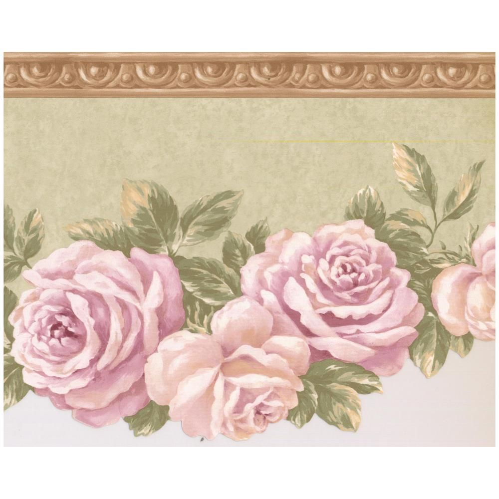 Retro Art Bloomed Roses On Vine Scalloped Light Green Prepasted