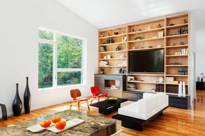 Kleine Wohnung Einrichten Raumteiler Ofene Regale Wohnwand