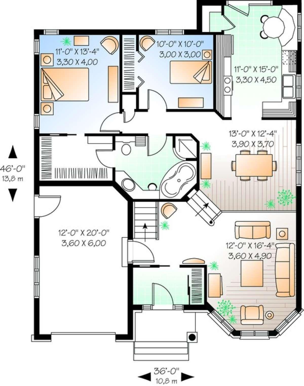 House Plan 034 00724 Narrow Lot Plan 1 246 Square Feet 2 Bedrooms 1 Bathroom House Plans Victorian House Plans Bungalow House Plans