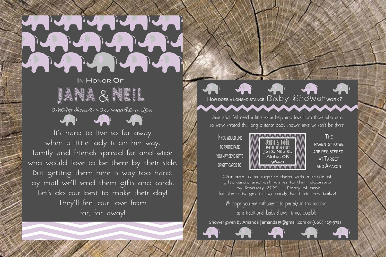 Long Distance Baby Shower - 5x7 Invitation and 5x5 Insert Card (Baby ...