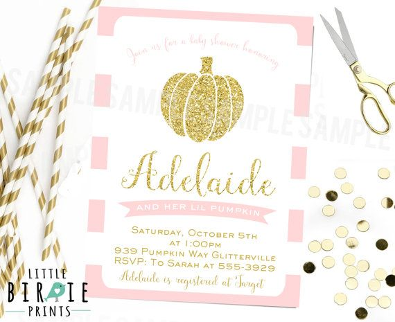 FALL PUMPKIN BABY Shower Invitation Gold And Pink Baby Shower Glitter  Little Pumpkin Invitation Sparkle Gold