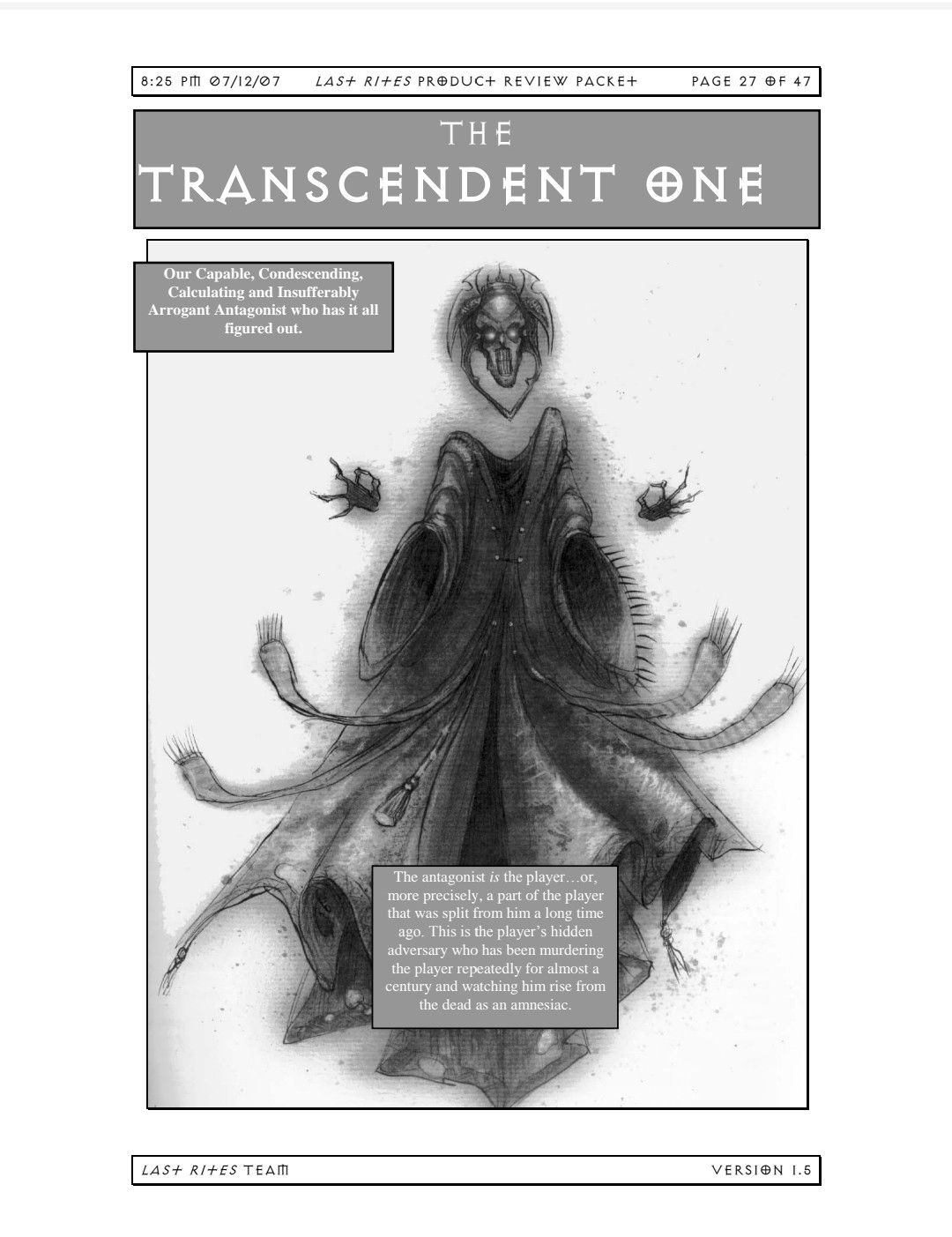 The Transcendent One Planescape Torment Game Character Last