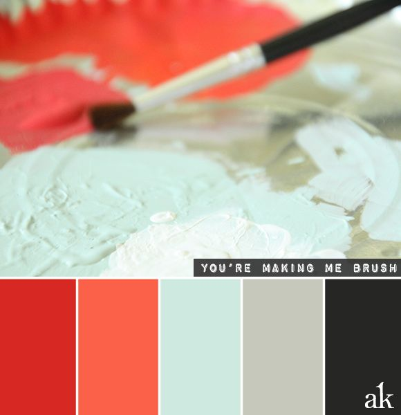 A Paintbrushinspired Color Palette Red Papaya Blue Gray - Black and red color combo