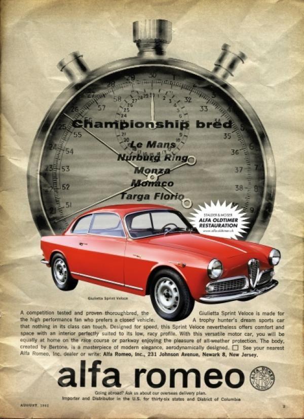 alfa romeo vintage cars, swiss publicis zurich, alfa romeo, print