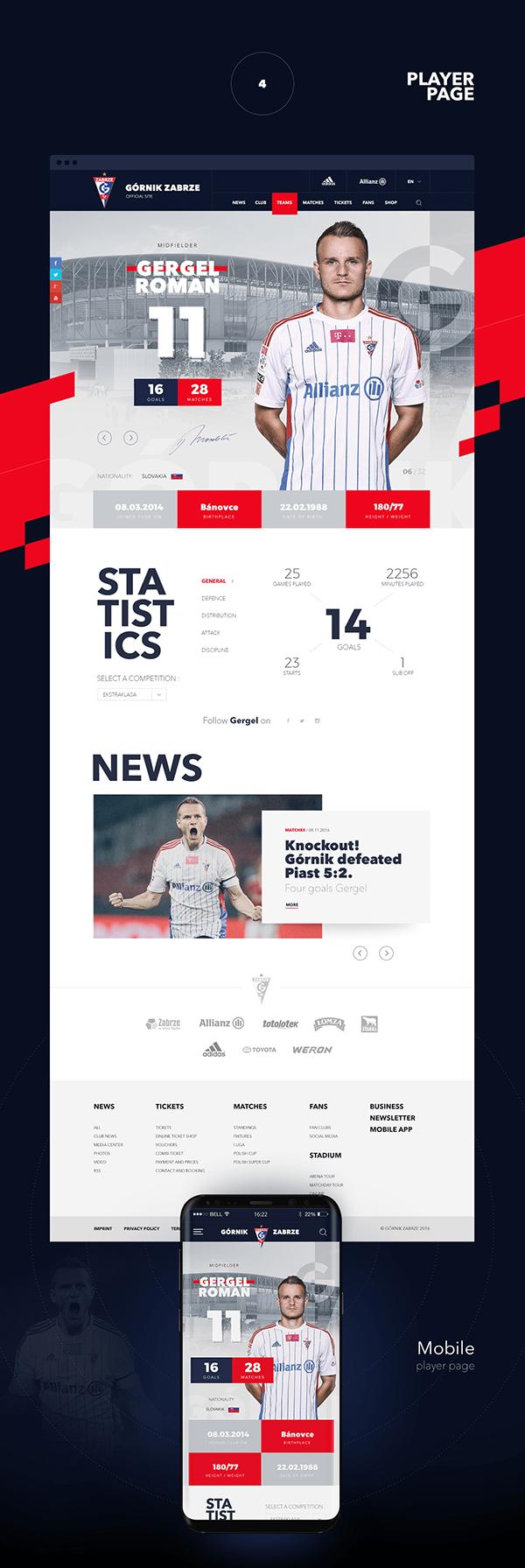 Official Football Site Górnik Zabrze on Behance Web UI