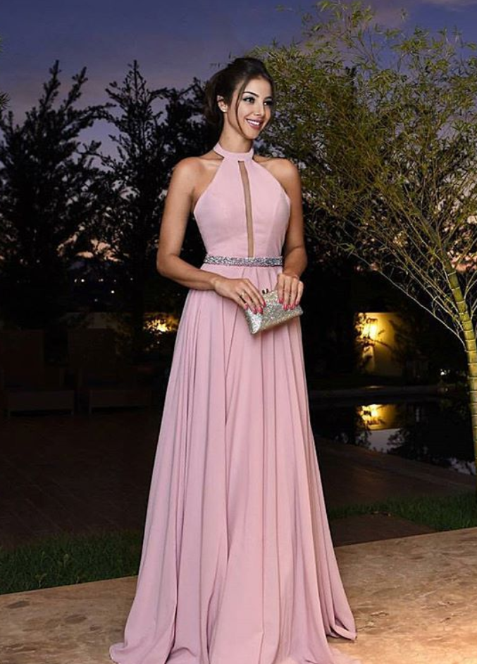 Simple pink chiffon A line long prom | PerfectDress | Pinterest ...