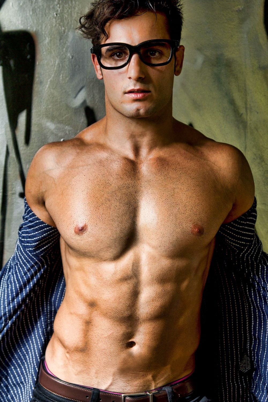 Hot sexy guy in swim trunks
