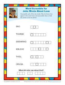 John Wrote About Love Word Scramble