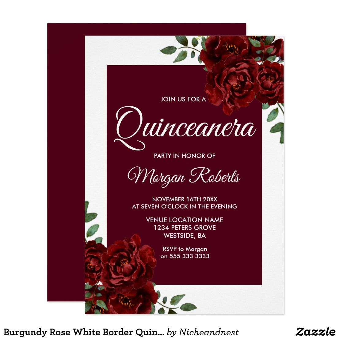 burgundy rose white border quinceanera invite