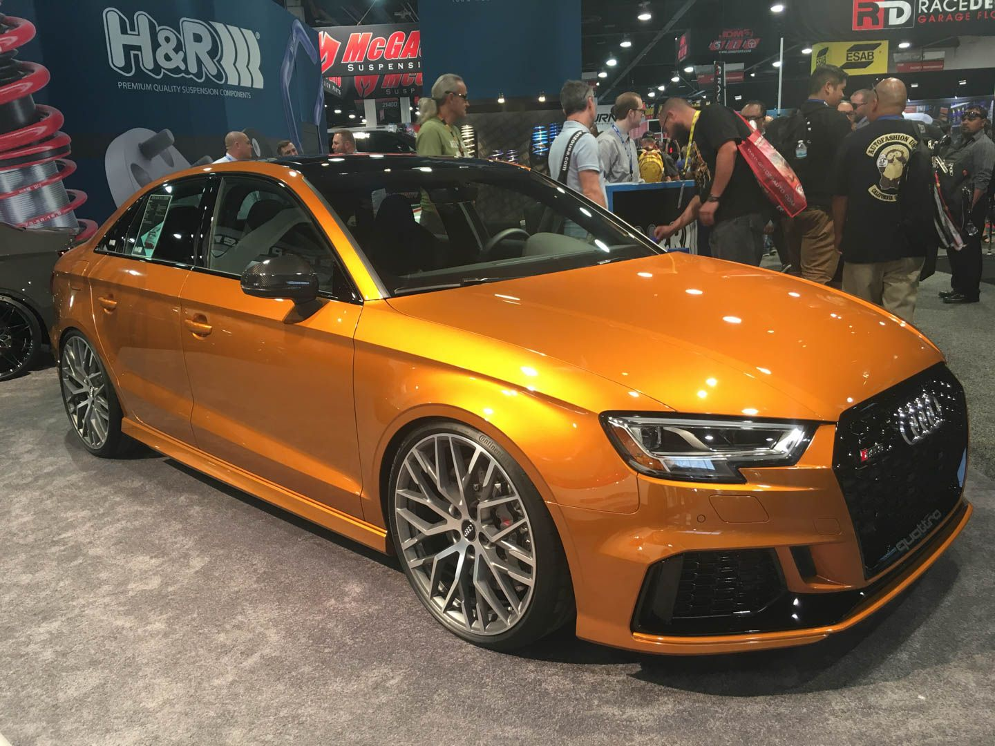 H&R had a pair of Audi RS3 Sedans at the 2017 SEMA Show