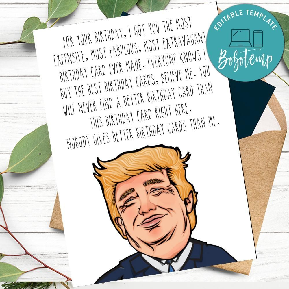 Funny trump happy birthday card for dad to print at home