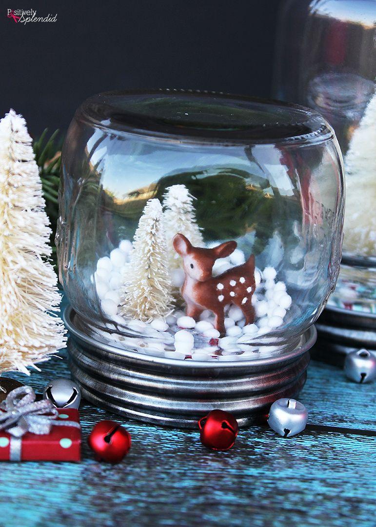 mason jar snow globe  quick and easy diy holiday craft