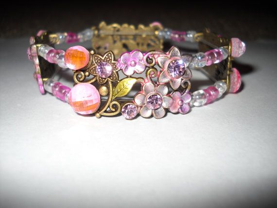 Pink Flower and Crystal Stretch Bracelet by danielleh08 on Etsy, $12.00