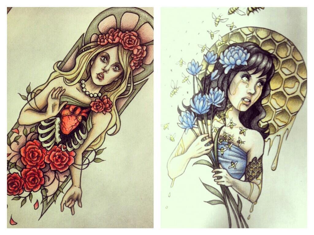Art Nouveau Tattoo Design By Tegan Ray: Art_nouveau_inspired_tattoo_designs_by_myhedhertz-d6tjlil